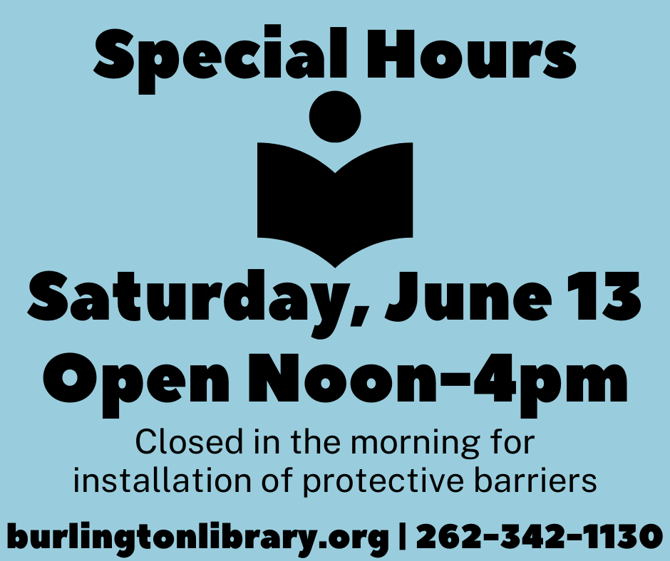 Special Hours Saturday June 13 Open noon to 4pm